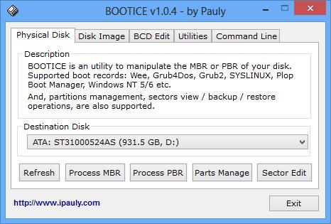 Bootice 1.3.4 32bit + 64bit